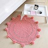Enkoo Tapis de jeu for bébé rondes, jeu de plancher for enfants Tapis de tapis en chenille de coton moderne, 80 x 80 cm (Color : Red)...