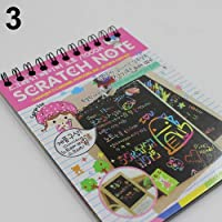 Ogquaton Kids Rainbow Colorful Scratch Art Kit Magic Drawing Painting Paper Notebook Gift Pink Creative and Useful