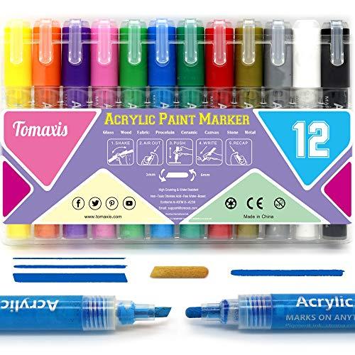 Rotuladores de pintura acrílica de 12 colores con punta doble para tela de vidrio, cerámica, pintura de madera, álbumes de fotos, manualidades, herramientas de pintura impermeables