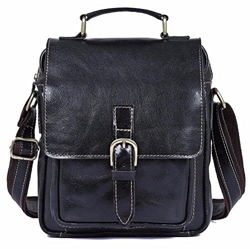 Everdoss Herren echt Leder Umhängetaschen Schultertaschen Messenger Bag Vintage Business Freizeit Schwarz Schwarz