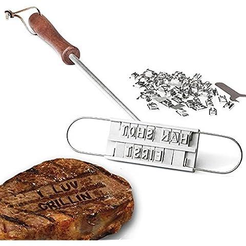 Dealglad® Griglia per Barbecue BBQ Branding Iron 54 rimovibile con lettere da carne per hamburger da bistecca Set di utensili per Barbecue - Carne Branding Iron