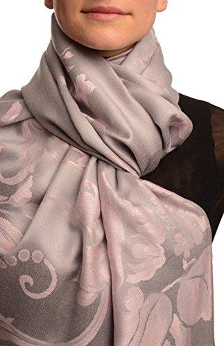 Large Tea Rose Pink Roses On Light Grey Pashmina Feel With Tassels - Grau Scarf, Schal Einheitsgroesse (70cm x 180cm) (Light Tea Rose)