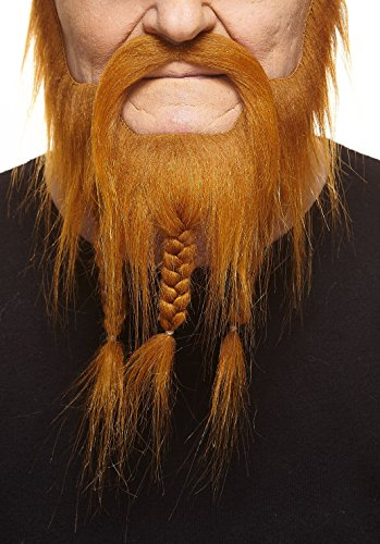 Gefälschte Kostüm Bart Roten - Mustaches Geflochtener rotoranger Kapitäns fälschen, selbstklebend Bart mit Schnurrbart