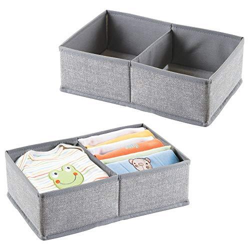 MetroDecor mDesign 2er-Set Baby Organizer – große Aufbewahrungsbox mit 2 Fächern für Windeln, Feuchttücher etc. – auch zur Spielzeug Aufbewahrung geeignet – grau