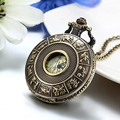 JewelryWe-Retro-Taschenuhr-12-Sternzeichen-Tierkreis-Weltkarte-Herren-Unisex-Kettenuhr-Analog-Quarz-Uhr-mit-Halskette-Kette-Pocket-Watch-Geschenk-Bronze