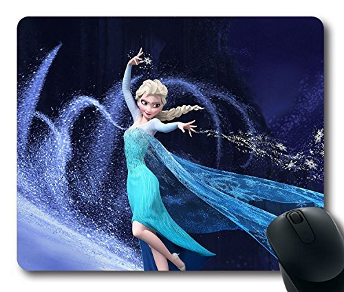 Custom Gaming Mouse Pad with Wallpaper Frozen Elsa Disney Non-Slip Neoprene Rubber Standard Size 9 Inch(220mm) X 7 Inch(180mm) X 1/8 Inch(3mm) Desktop Mousepad Laptop Mousepads Comfortable Computer Mouse Mat