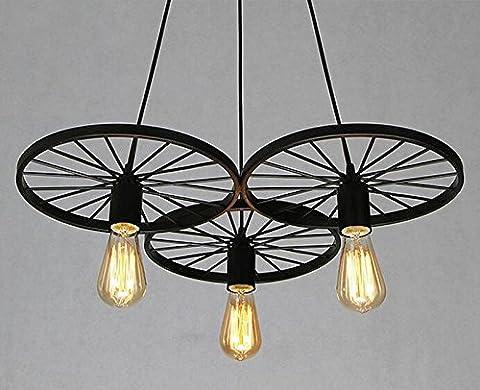 American Retro Chandelier Lampes à vent industrielles Salon Bar Lampes de comptoir Restaurant Eclairage Cafe Office Iron Car Wheel Chandelier ( Couleur : Noir-3 Head )