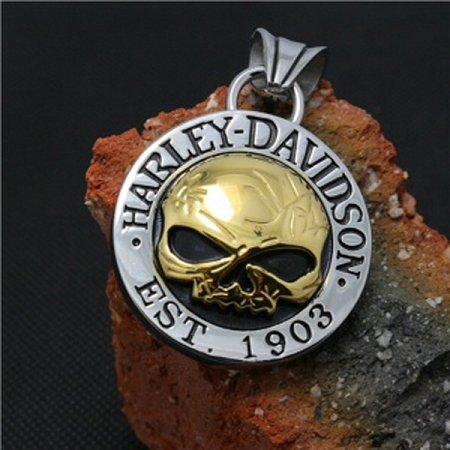 Ciondolo Medaglione Pendente Dorato Logo Skull Harley Biker Custom Idea Regalo