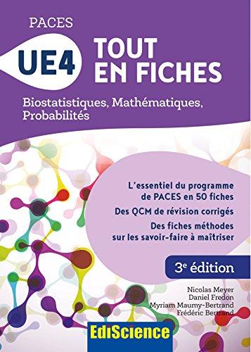 PACES UE4 Tout en fiches : Mathématiques, Probabilités, Biostatistiques par Nicolas Meyer