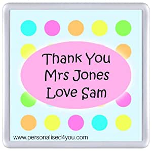 Personalised Thank You Teacher Coaster Gift Custom Novelty Gift (Please read the description on how to personalise!)