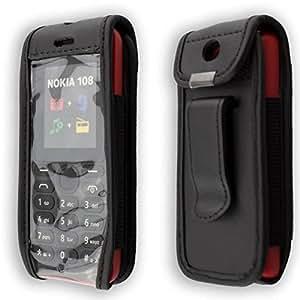 caseroxx – Housse de téléphone portable à clip pour Nokia 108 en Cuir veritable – Housse de protection à porter à la ceinture (coloris noir avec fenêtre transparente antisalissure)