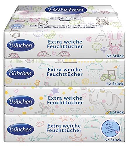Bübchen Feuchttücher Sensitive, Baby-Pflegetücher, besonders sanft und extra weich, feuchte Tücher auch für Gesicht & Hände, Menge: 3 x 4 x 52 Stk