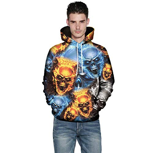 TWBB Herren Hoodies Slim Fit 3D Schädel Digital Bedruckte Kapuzenpullover Langarm Fashion Graphic Mantel Outwear Sweatjacke