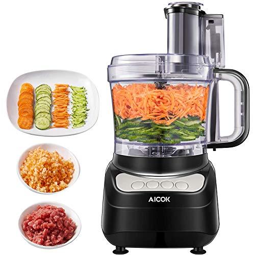 Robot da Cucina, AICOK 1.8 Litri Robot da Cucina Multifunzione, 3 Velocità Regolabili Tritatutto da Cucina Elettrico, Food Processor Adatto per Carne, Spezie, Frutta, Verdura, Impastare
