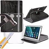 Spyrox - Sony Xperia Tablet S (9.4 inch) Tablette-Hülle Carbon 360 drehende 4 Frühlingsstandmappen mit gehärtetem Glas LCD-Schirm-Schutz-Schutz -Carbon Black
