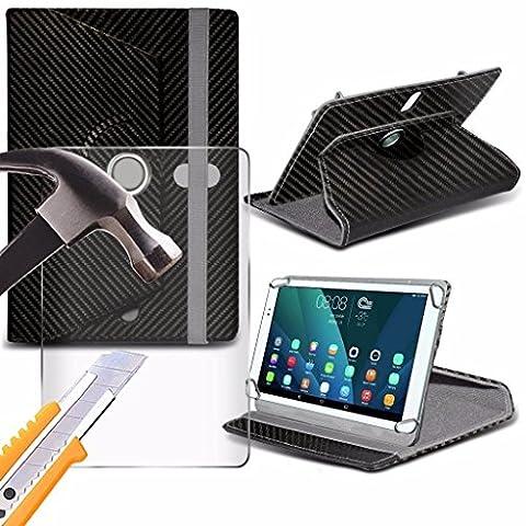 Spyrox - Polaroid A1000x (10.1 inch) Boîtier de tablette Carbon 360 tournant 4 ressorts stand portefeuilles avec verre trempé Protecteur d'écran LCD Carbon
