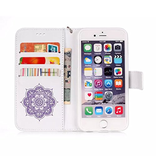 Iphone 6 Plus 6S Plus Hülle Cover Case Leder Muster Flip Etui Case Echt,Nnopbeclik® PU Leather Luxus bling bling Blume Case Handytasche Kristall Glitzer Diamant Strass Schutz Etui Schale multi Farbe M Weiß-Lila