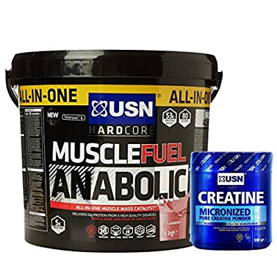 USN Muscle Fuel Anabolic 4 kg, Ultimate All-In-One shake,Supports Muscle Performance,Recovery and Growth,Free USN Creatine Monohydrate 500g 100 Servings by USN