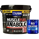 USN Muscle Fuel Anabolic 4 kg, Ultimate All-In-One shake,Supports Muscle Performance,Recovery and Growth,Free USN Creatine Monohydrate 500g 100 Servings (Vanilla)