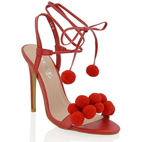 Essex Glam Scarpa Donna Tacco a Spillo Pon Pon con Allacciatura Rosso Pelle sintetica