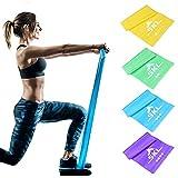 Fitnessbänder Elastikband 4er Set Theraband Set Gymnastikband Resistance Band Widerstandsbänder mit 4-Stärken(Leicht, Mittel, Schwer, X-Schwer Trainingsband für Yoga, Pilates, Reha, Physiotherapie