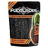FLEXILACES - elastische Schnürsenkel | nie Wieder Schuhbänder binden - Glitzer-SCHWARZ