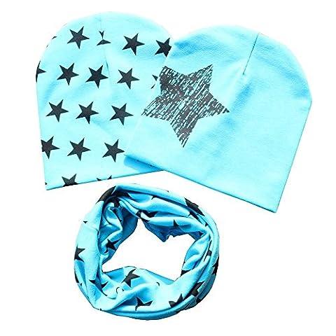Patgoal Baby Mütze O-Ring Schal Jungen Mädchen Kleinkinder Schal Kind Schal Hüte Mützen (Kleinkind-jungen Set)