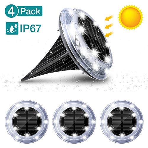 4 Pack Solar Powered Ground Lights, AMBOTHER 12 LED Outdoor IP65 Waterproof Disk Lights, Buried Light for Garden Landscape Lawn Pathway Yard Deck Driveway Patio Walkway Pool Area