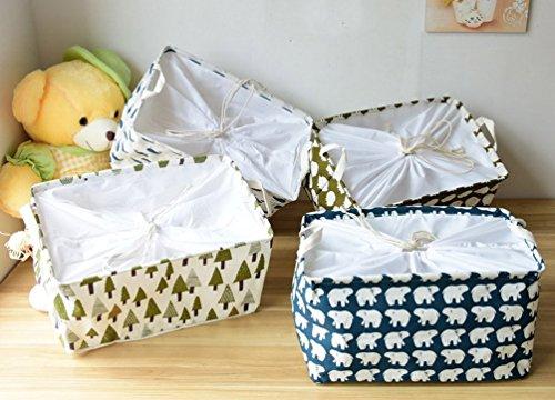 Kimjun Multifunktionale Faltbare Baumwolle Waschekorb Waeschesammler Korb Kinder Spielzeug Aufbewahrungskorb Aufbewahrungsbox mit deckel – Wale - 5