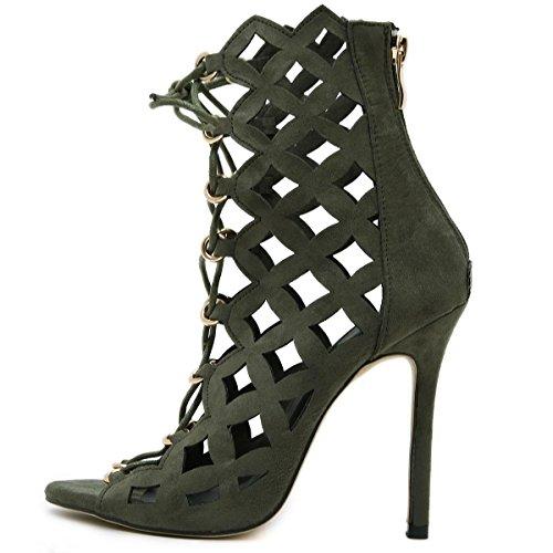 LvYuan-mxx Chaussures femmes talons hauts / Printemps Été / lacets romains creux cravate laser / Boîte de nuit sexy / Bureau & Carrière Party & Evening Dress / talon aiguille / sandales ARMYGREEN-US6EU36UK4CN36