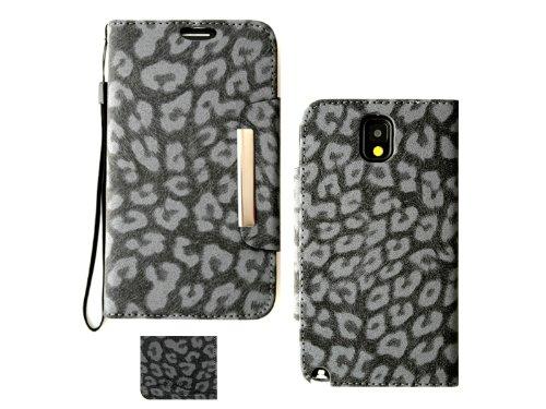 Samsung Galaxy Note 3N9000Leopard Print Deluxe PU Leder Wallet Folio Case Cover, Grau - Note Samsung Tmobile Galaxy 3