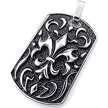 KONOV Joyería Collar con Colgante de hombre, Cadena 45-65cm, Biker Gótico La flor de lis, Acero inoxidable, Color negro plata (con bolsa de regalo)
