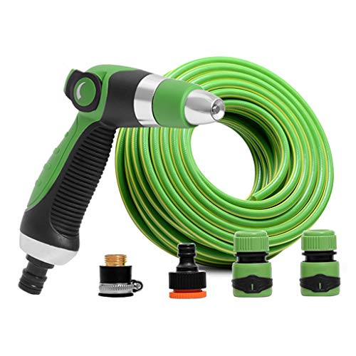 Water Hose Pipe Expandable garden antifreeze round tube with multiple modes of vehicle wash nozzle / flower / vegetable / floor watering (green) (Size: 50m)