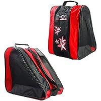 Bolsas para Patines - Meiwo Roller Ice/Roller Paquete de Tres Niveles Triangular Shoulder Bolso de Patinaje Oxford Lightweight Carry Sport Bag para niños niñas,Rojo