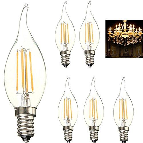 5X E14 4W LED Lampen Filament Edison Glühbirne, Ersatz für 40W Glühlampen,Filament LED Birnen, Leuchtmittel Warmweiß 3000K, 360 Lumen Kerze mit 360° Abstrahlwinkel