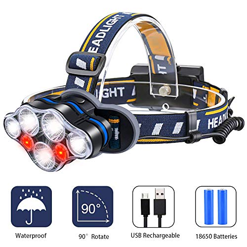 Headlamp, iToncs Headlight USB Rechargeable LED Head Torch with Red Warning Light for Outdoor Safety