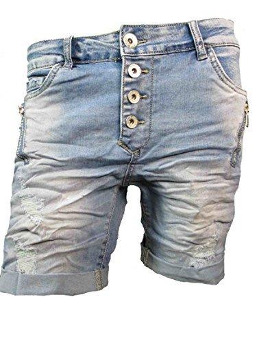 Zip BAGGY Denim Krempel Boyfriend baggy Stretch Shorts Bermuda Knöpfe offene Knopfleiste schräge Beinnaht (S-36, Vintage Camouflage) (Jeans-shorts Boyfriend)