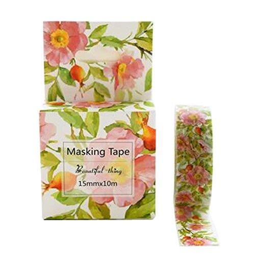 5PCS 15mm × 10m DIY dekoratives Papierfertigkeit-Band-Geschenk-Verpackungs-Masking Tape, # 14