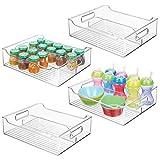 mDesign Set da 4 Organizer per cameretta – Contenitore portaoggetti con manici realizzato in plastica senza BPA – Box impilabili con 2 scomparti ideali per giocattoli, vestiti o bambole – trasparente