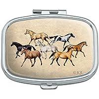 Pillendose, rechteckig, Motiv: Pferde in verschiedenen Farben preisvergleich bei billige-tabletten.eu