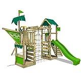 FATMOOSE Spielturm WaterWorld Wave XXL Klettergerüst mit Doppelschaukel, apfelgrüne Rutsche und...