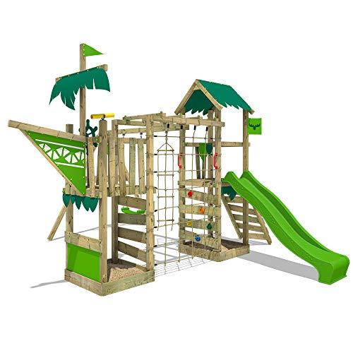 FATMOOSE Spielturm WaterWorld Wave XXL Klettergerüst mit Doppelschaukel, apfelgrüne Rutsche und Kletterwand