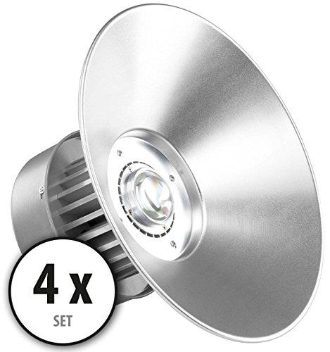 Deckenmontage-wärme-lampe (4x Showlite HBL-50 COB LED High Bay Hallenstrahler 50 W (Fluter für Industrie- und Hallenbeleuchtung, 4500lm, Abstrahlwinkel 130°, 30000h Lebensdauer, Alu, Deckenmontage, energieeffizient) silber)