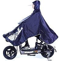 RFJJAL Sola Lluvia Poncho Coche eléctrico para Adultos Motocicleta Impermeable Impermeable Boca sin Costura Sombrero Grande Estudiante Impermeable Impermeable (Color : Azul Oscuro)