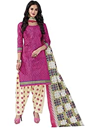 HRINKAR Women's Cotton Salwar Suit Dupatta Dress Material (HRKT1623_Yellow And Pink_Free Size)