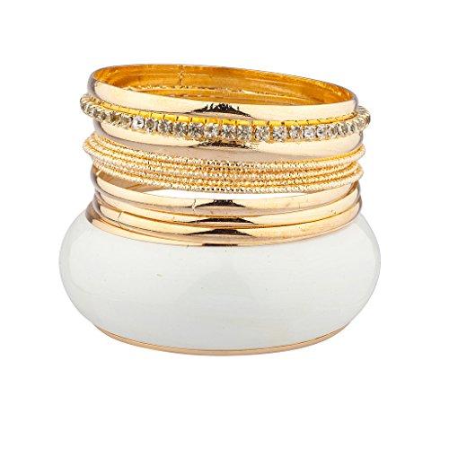 Lux accessori bianco grande bracciale in metallo più Pave Set