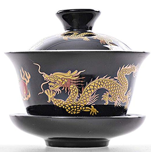 YBK Tech Porcelain Kung Fu Tea Cup and Saucer with Lid, Chinese Traditional Gaiwan Sancai Tea Bowl Tea Set Dragon Pattern (Black)