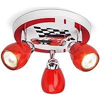 Plafonnier LED Racing, Ø 31 cm, 3x 2.5W GU10 LED incl., 3x 220 lumens, 3000K blanc chaud, métal, rouge/blanc-noir