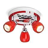 Racing LED Deckenleuchte, Ø 31 cm, 3x 2,5W GU10 LED inkl., 3x 220 Lumen, 3000K warmweiß, Metall, rot / weiß-schwarz