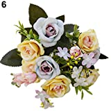 1 Bouquet 15 Heads European Style Artificial Royal Rose Home Room Decor Flowers - Yellow Amesii